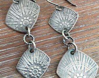 Sterling Silver Embossed Asymmetrical Earrings