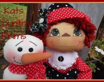 Primitive Raggedy Ann & Snowman Epattern 168 Annies Snowman Holiday Christmas