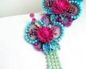 Embellished flower brooch -  OOAK  - Ready to ship xx