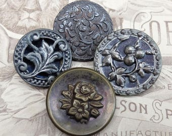 Antique Buttons Flower Botanical Flower Metal