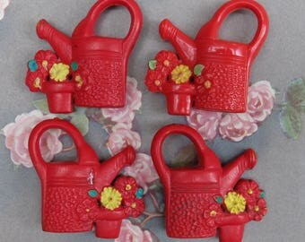 4 Vintage Shade Pull Watering Cans Plastic Kitsch