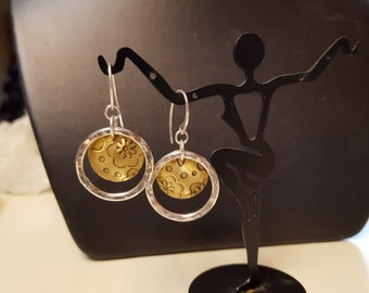 Sterling Silver Hammered Hoop and Patterned Brass Dangle Earrings by Sapphireskies Designs