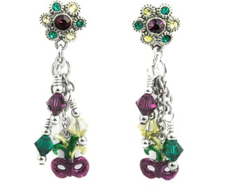 Mardi Gras Earrings, Mask Earrings, Crystal Earrings, Post Earrings, Drop Earrings, Dangle Earrings