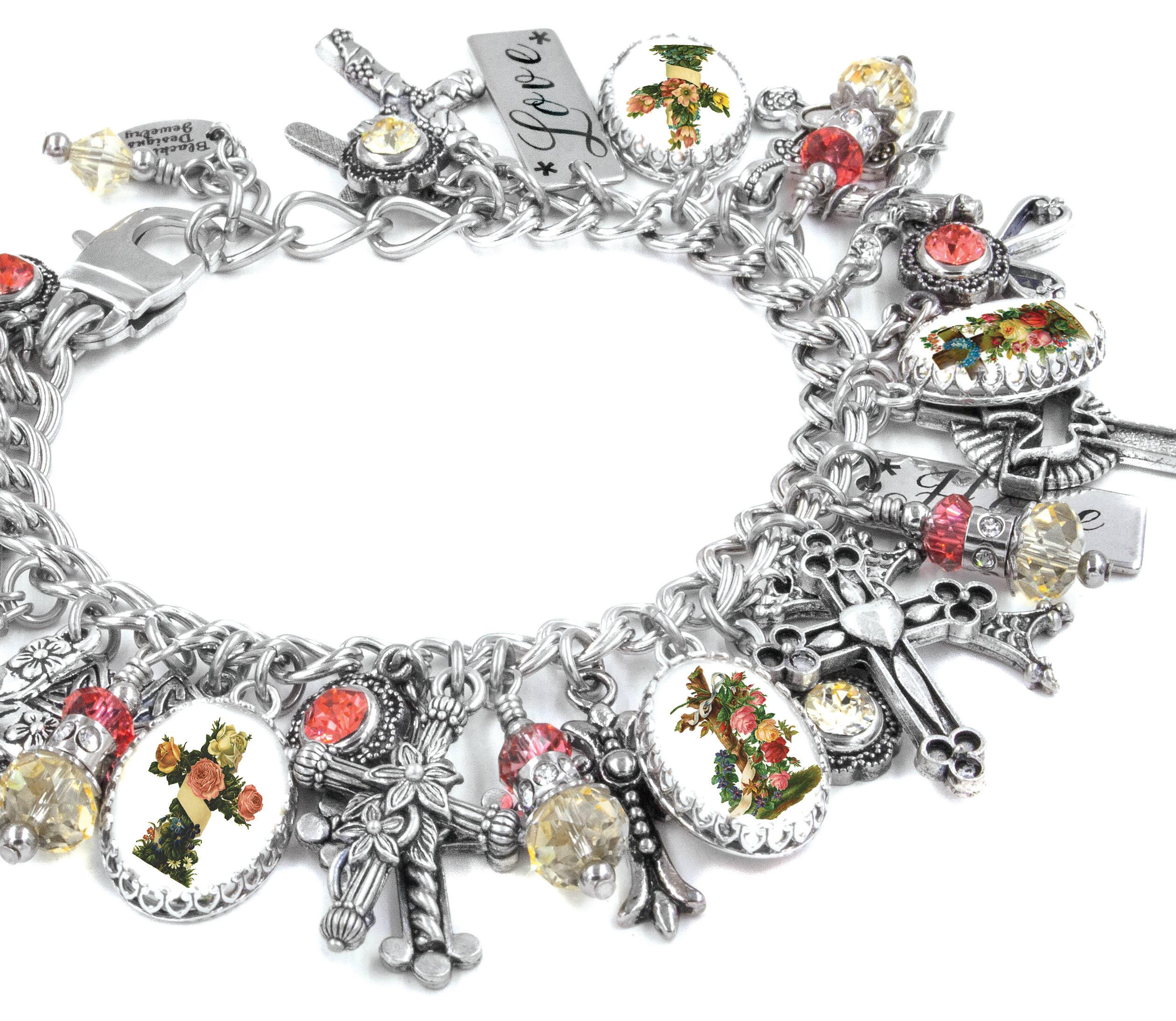 Christian Charm Bracelets: Cross Charm Bracelet Christian Jewelry Religious Cross