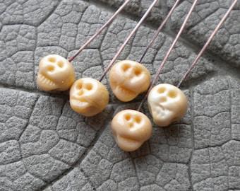 Tiny Skull Headpins Lampwork Beads by Cherie Sra R114 Flameworked Headpins 20 Gauge Copper Headpins Dark Ivory Skull Hand shaped Headpins