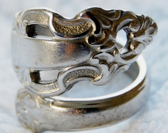 Silver Spoon Ring, Flared, Size 8 to 12