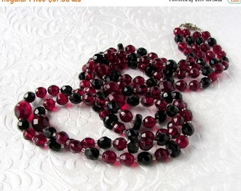 20% SALE Vintage Red Back Crystal Necklace Double Strand Jet Ruby Faceted Glass 31 Inch Opera Length Gothic Wedding Formal Evening Gatsby Do