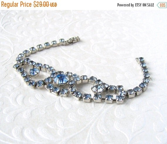 20% SALE Something Blue Rhinestone Bracelet Classic 1950's Vintage Costume Jewelry Bridal Formal Ballroom Pageant Prom Special Occassion Pow