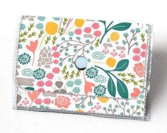 Vinyl Accordion Wallet - Flora Fields / small wallet, snap, cute, card case, vinyl wallet, women's wallet, green, floral, flowers, summer