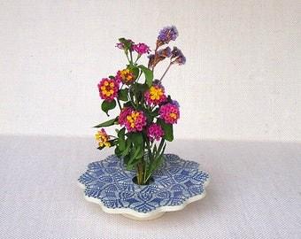 Doily Lace Ikebana Vase, Handmade Pottery, Ceramic Flower Vase, Pin Frog Vase . blue