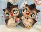 RESERVED FOR stulicki Rare Vintage Owls Wearing Witch's Hats Salt and Pepper Shakers Antique Norcrest Collectible Halloween Decor  Figurines