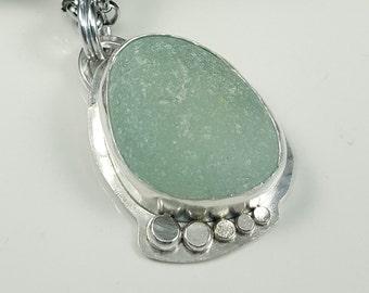 Sea Glass Necklace Sea Glass Jewelry Aqua Sea Glass Necklace Beach Glass Jewelry - N-474