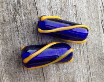 Pair of Violet Blue with Golden Stripes Artisan Handmade Glass Beads For Jewelry Design