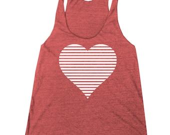 Women's Valentine's Day Retro Heart Racerback Tank Top