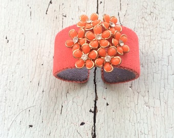 Deep Coral and Orange Adjustable Floral Cuff