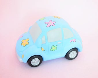 Volkswagen Beetle - VW Car - Flower Power Car - Cute Blue  Volkswagon - VW collectible - Mothers Day gift - Volkswagon Decoration