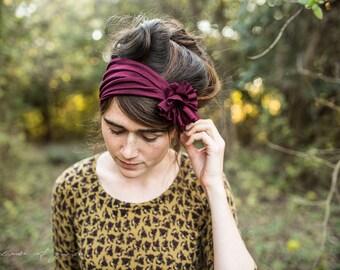 Rosette in GARNET - Garlands of Grace headband hair wrap headcovering head band Stretch