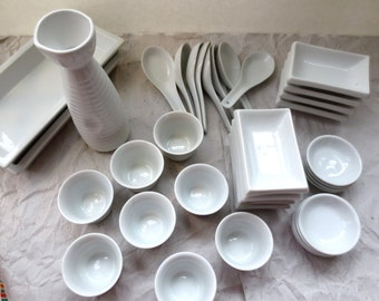 White Porcelain Saki and Sushi Set for 8 - Pier 1 Imports - Vintage 1988 - Japanese Delectables Party