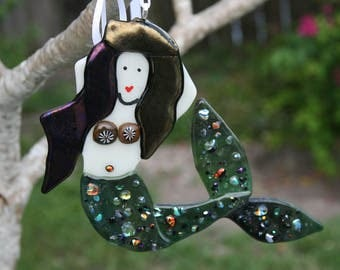 MYSTICAL MERMAID---Fused Glass Suncatcher--Artglassbyym