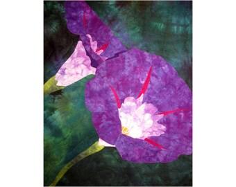 Morning Glory Art Quilt, Fabric Wall Hanging, Purple Flower Fiber Art
