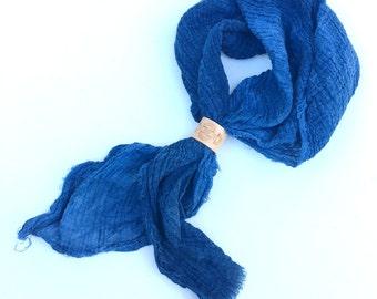 Indigo Kerchief with Tumbleweave pattern Scarf Ring