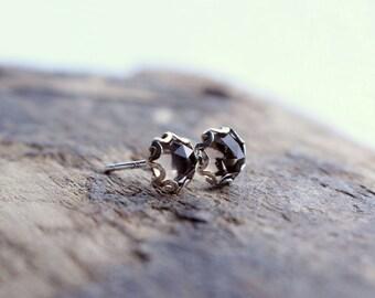 Smokey Topaz Sterling Silver Stud Post Earrings