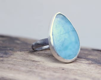 Larimar Gemstone Sterling Silver Statement Ring - Gift for Her - Artisan Made Jewelry
