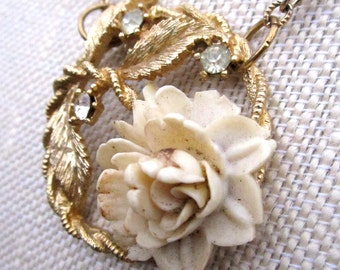Bouquet D'Ivoire Necklace - repurposed vintage ivory floral pendant on gold necklace - Free Shipping to USA