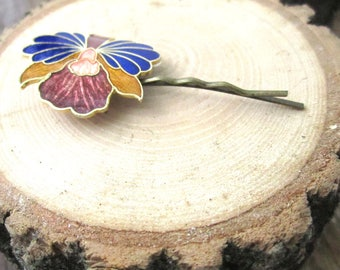 Magic Orchid Hairpin - repurposed cloisonne orchid on bronze hairpin - Free Shipping to USA