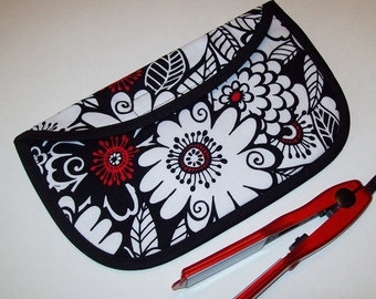 MINI Curling Iron Case / Mini Flat Iron Cover for Travel or the Gym (Insulated) - Zesty Zinnia