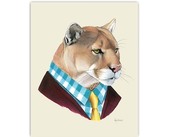 Mountain Lion art print 11x14