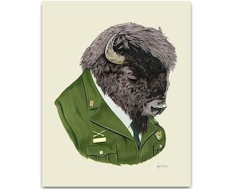 Bison art print 8x10