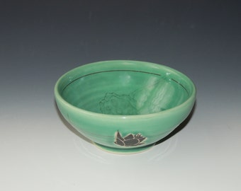 Clay Lotus Bowl - green porcelain ceramic dish with flower, seedpod, and grid lines decals - wheel thrown pottery