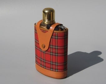 Vintage Glass Flask Red Tartan Plaid and Leather Cover with Shot Glass Cap Top Grain Cowhide