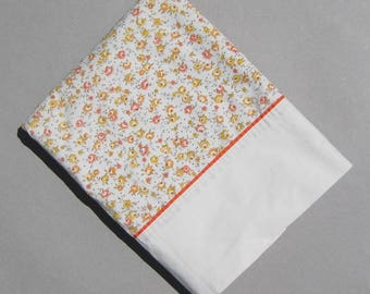Calico Bedsheet Twin Flat Sheet 1980s Vintage Bedding Orange Yellow Beige Floral Sheet