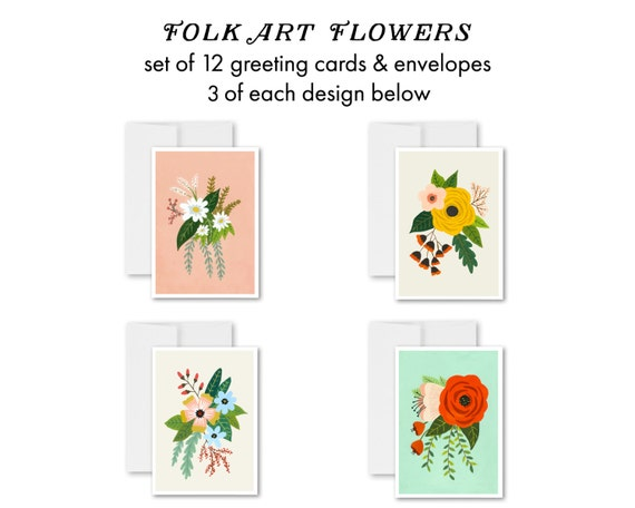 greeting cards, greeting card set, blank inside, flowers, floral art, hand painted flowers, handmade cards, flower art - Folk Art Flowers