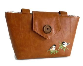 BIRDS ON BRANCH - Embroidery Appliques - Wayfarer Purse - Vegan Faux Leather - Spring - Summer