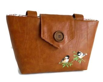 BIRDS ON BRANCH - Embroidery Appliques - Wayfarer Purse - Vegan Faux Leather - Spring - Summer