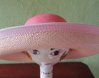 Kokin Peach/Natural Fine Sisal Straw Breton  Sun Shade Hat Wide Brim