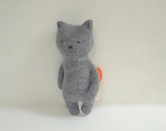 handmade small cat grey Cat doll soft toy stuffed cat upcycled soft wool sweaters kids eco-friendly plush toy bubynoa CAT & BUNNY
