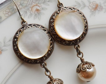 Antique Mother of Pearl Button Earrings, Harvest Moon, Antique Brass