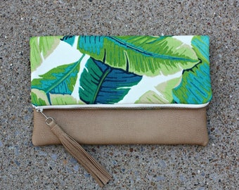 Palm tree fabric Foldover Clutch / Kindle Case