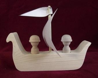 Basic Viking Ship, Unfinished Pine with Peg Dolls