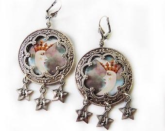 Tarot Earrings, Moon and Star, Celestial Earrings, The Moon, Tarot Jewelry, moon crown star, Pale aqua earrings, pagan, gypsy, hippie, gift