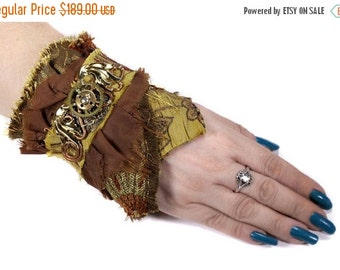 Steampunk Cuff, Wrist Cuff, Snakeskin LEATHER Wings GEARS Filigree, Copper Coils, Watch Parts, Boho Cuff - Steampunk Clothing by edmdesigns