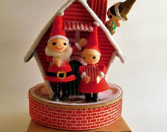 VINTAGE Christmas Music Box Felt Santa House