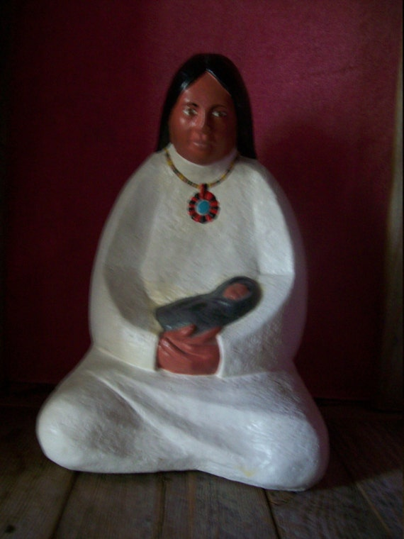Native Woman With An Infant,  Native American hand painted, home decor, great gift, collector gift, Native American woman figure,
