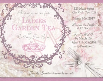Ladies Garden Tea Invitation, Afternoon Tea Invitation, Bridal Shower, Baby Shower, Pearls, Roses, Luncheon - Printed or Digital