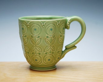 Spring green mug w. Lollipop flowers and Sky blue dots, Victorian modern stamped handmade cup