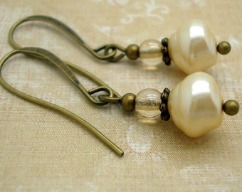 Cream Imitation Pearl Earrings with Brass Findings